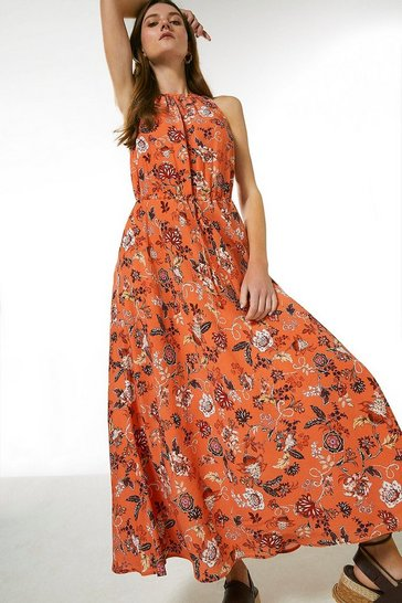 Orange Batik Floral Drawstring Midaxi Dress