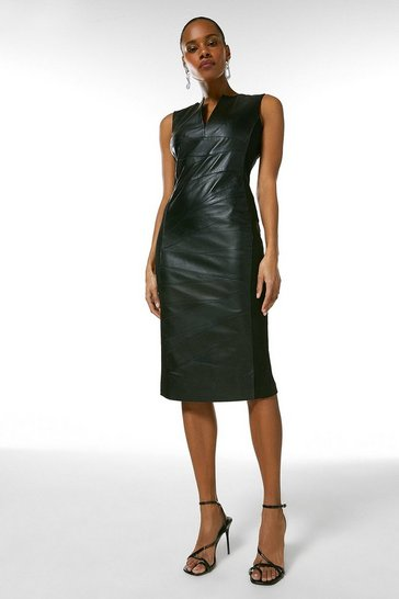 Black Leather Seam Detail Pencil Dress