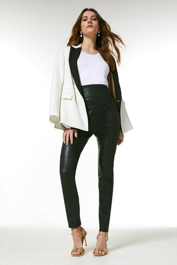 Black Stretch Leather Seam Detail Legging
