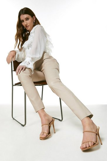 Nude Stretch Leather Seam Detail Legging