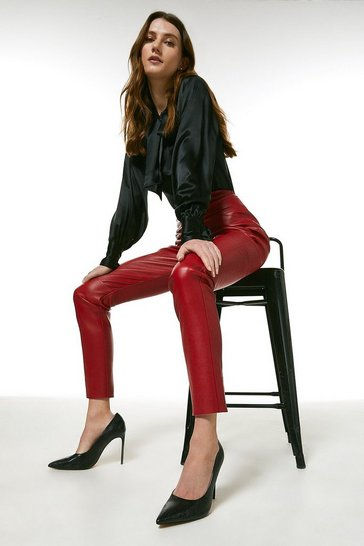 Red Stretch Leather Seam Detail Legging