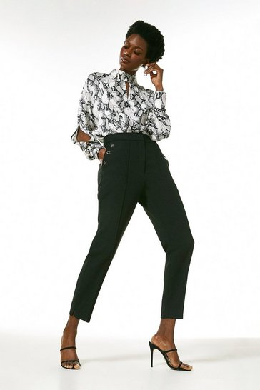 Black Compact Stretch Eyelet Pocket Slim Trousers