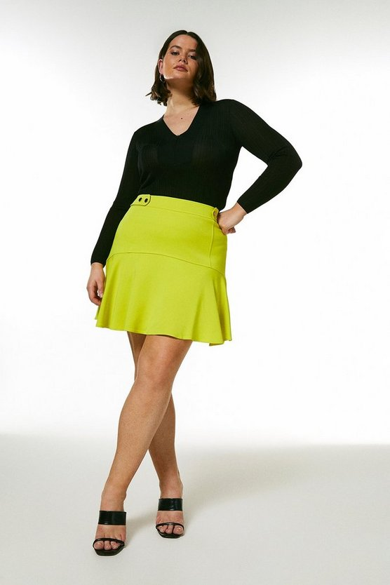 Lime Curve Compact Viscose Flippy Hem Skirt