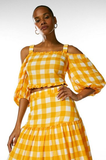 Yellow  Textured Check Volume Sleeve Cold Shoulder