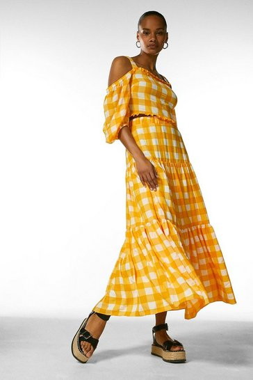 Yellow  Textured Check Maxi Skirt