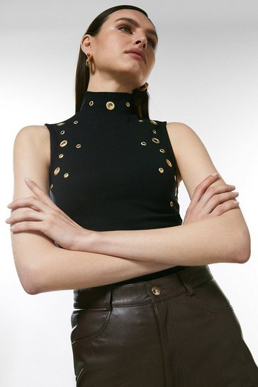 Black Eyelet Ponte Sleeveless Funnel Neck Top