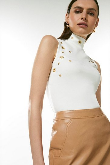 Ivory Eyelet Ponte Sleeveless Funnel Neck Top