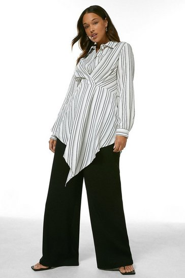 Blackwhite Curve Stripe Viscose Drape Tunic