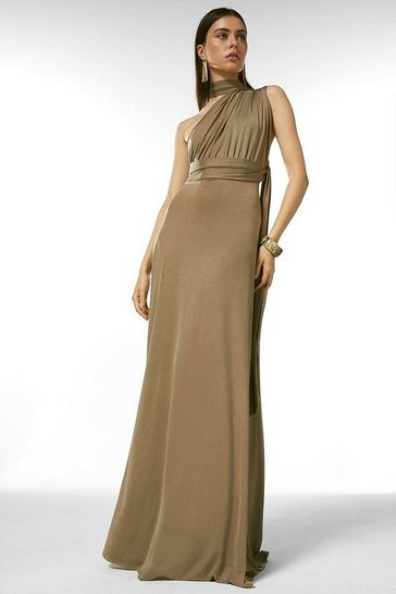 Mink Multiway Slinky Jersey Maxi Dress