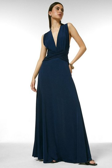 Navy Multiway Slinky Jersey Maxi Dress