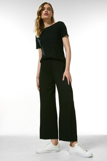 Black Lounge Jersey Viscose Wide Leg Trousers