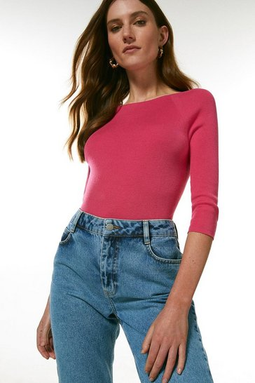Pink Organic Cotton Boat Neck Top