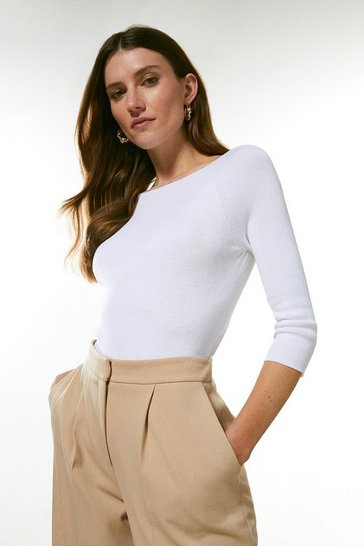 White Organic Cotton Boat Neck Top