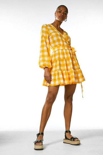Yellow  Textured Check Belted Wrap Dress