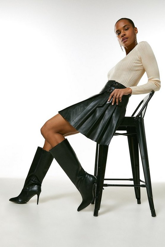 Black Leather Pleated Buckle Kilt Skirt