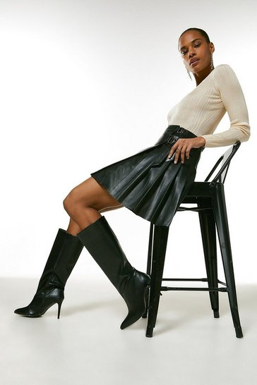 Camel Leather Pleated Buckle Kilt Skirt