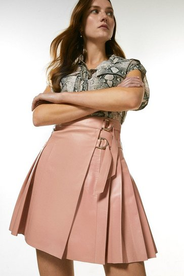 Blush Leather Pleated Buckle Kilt Skirt