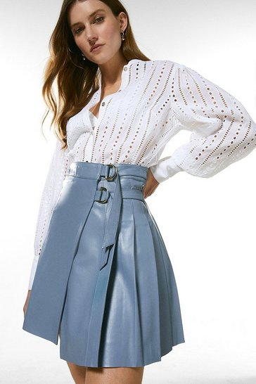 Pale blue Leather Pleated Buckle Kilt Skirt