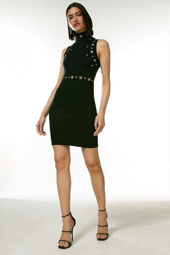 Black Eyelet Ponte Sleeveless Funnel Flippy Dress