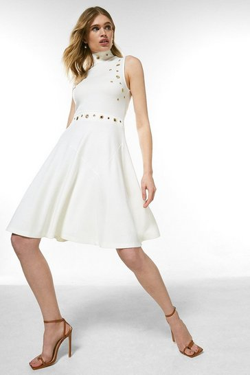 Ivory Eyelet Ponte Sleeveless Funnel Flippy Dress