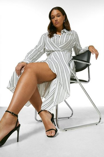 Blackwhite Curve Stripe Viscose Drape Midi Dress