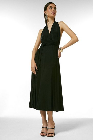 Black Multiway Slinky Jersey Midi Dress