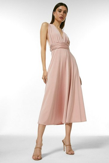 Blush Multiway Slinky Jersey Midi Dress