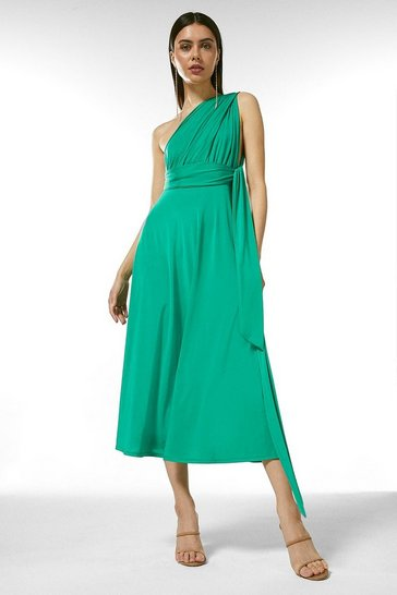 Bright green Multiway Slinky Jersey Midi Dress