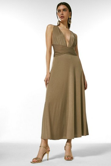 Mink Multiway Slinky Jersey Midi Dress