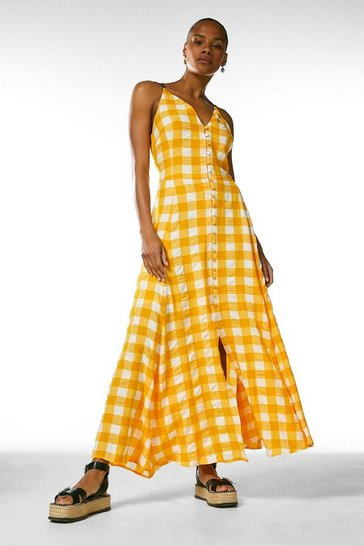 Yellow  Textured Check Button Detail Strappy Maxi