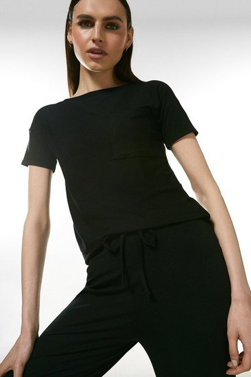 Black Lounge Short Sleeve Viscose Jersey T-shirt
