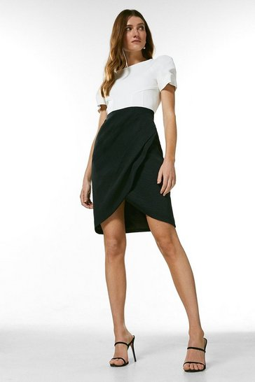 Blackwhite Italian Structured Rib Puff Sleeve Dress