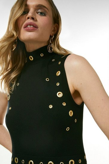 Black Eyelet Ponte Sleeveless Funnel Neck Dress