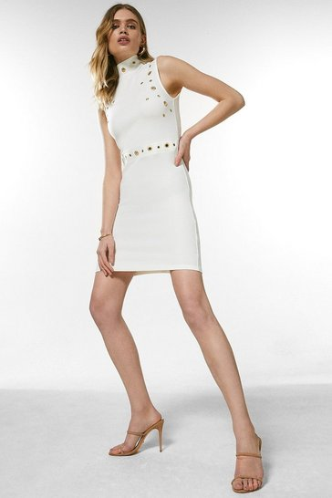 Ivory Eyelet Ponte Sleeveless Funnel Neck Dress