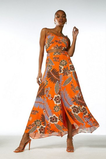Orange Tropical Batik Button Down Maxi Skirt