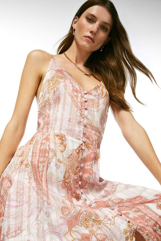 Pink Paisley Drama Strappy Maxi Dress