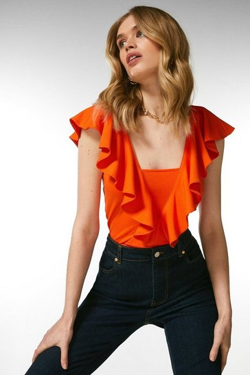 Orange Ponte Ruffle Jersey Top