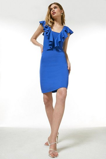 Cobalt Ponte Ruffle Jersey Dress