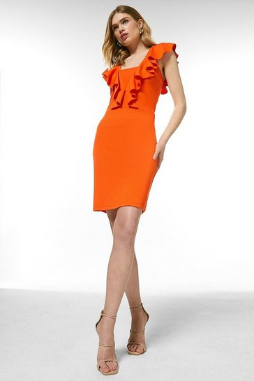 Orange Ponte Ruffle Jersey Dress