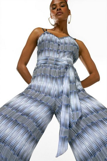 Blue Ikat Border Buttoned Drama Jumpsuit