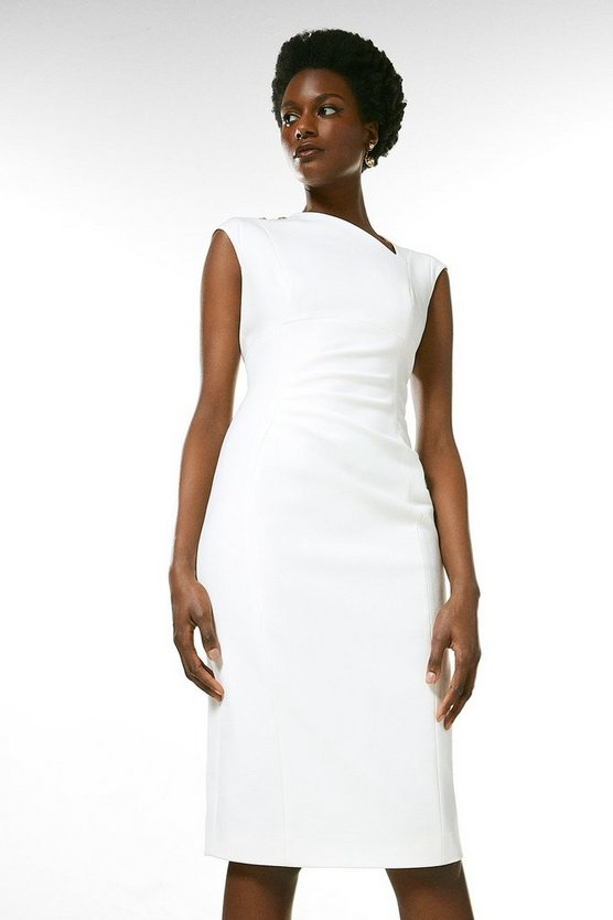 Ivory Structured Crepe Button Asymmetric Dress