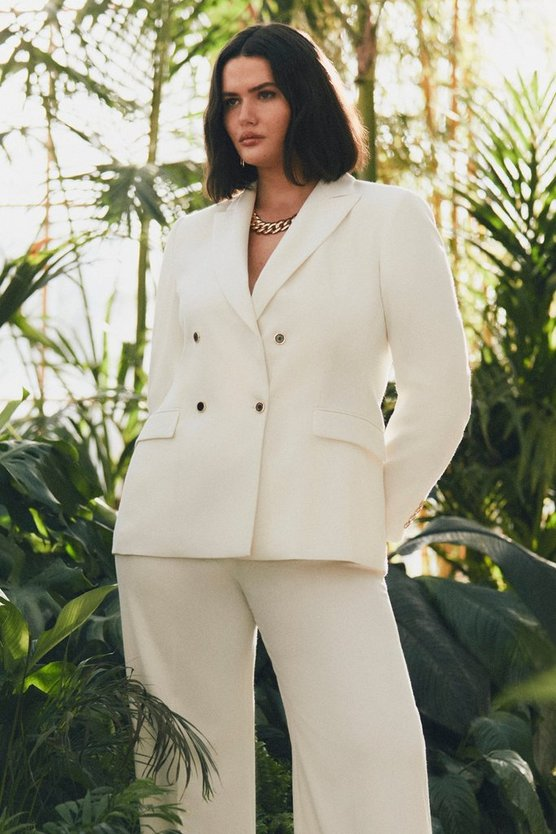 Ivory Curve Relaxed Tailored Double Breasted Jacket