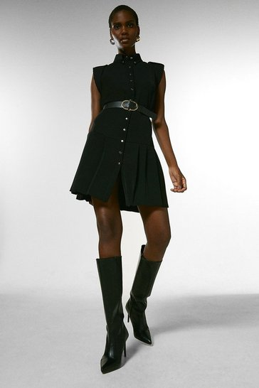 Black Military Pleated Belt Dress