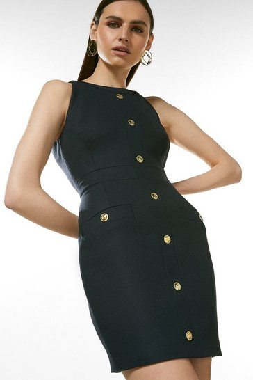 Navy Contrast Utility Dress