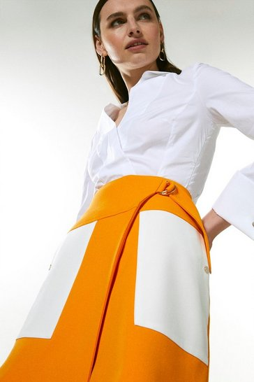 Orange Compact Stretch Contrast Pocket A Line Skirt