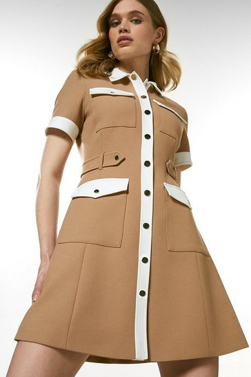 Camel Compact Stretch Contrast Pocket Dress