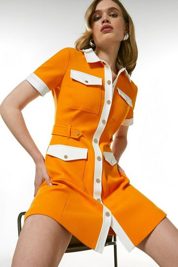 Orange Compact Stretch Contrast Pocket Dress