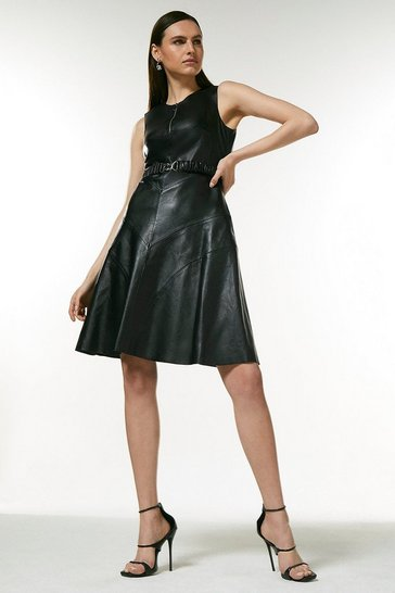 Black Leather Belted Midi Dress