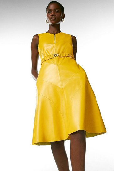 Mustard Leather Belted Midi Dress