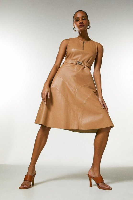 Tan Leather Belted Midi Dress
